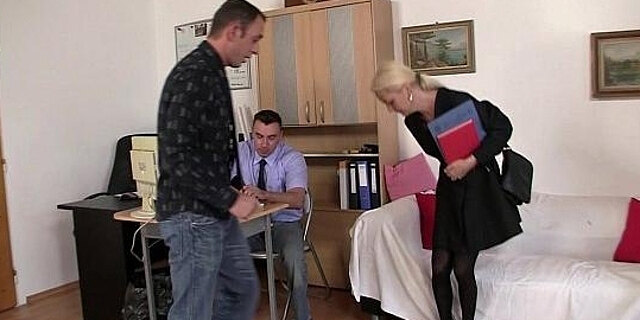 job interview,lady,oldy,threesome,
