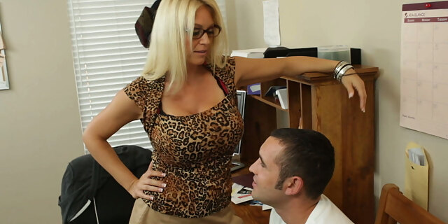 blonde,blowjob,boobs,charlee chase,classy,desk,flirting,glasses,hardcore,heels,legs,mature,milf,office,old young,pornstar,pussy,riding,skirt,tattoo,teacher,tits,white,